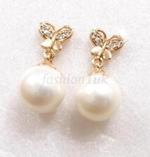 Women 10mm Shell Pearl Butterfly Drop Earrings 18K Yellow Gold Plated CZ Cubic