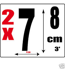 lot 2 Chiffres [7] Sticker autocollant noir hauteur 8cm Lettre en vinyle