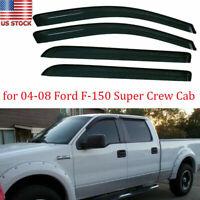 For 2004-2008 Ford F-150 Super Crew Cab Window Visor Vent Rain Guard Shade Trims
