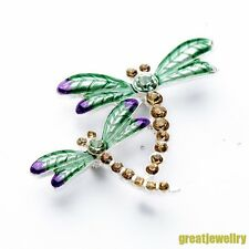 Vintage Style Rhinestone Crystal Double Dragonfly Pins Brooches Party Jewelry F1
