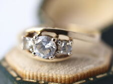"""9ct yellow gold white cubic zirconia trilogy """"LOVE""""  ring size O 2.50 grams"""