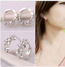 Women fashion jeweley 925 silver  white zircon Ear Studs Earring gift 耳环1