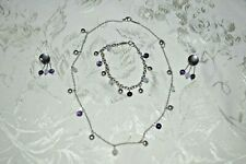 Tiffany & Co Set Earrings Necklace Bracelet Sterling Silver Amethyst Chalcedony