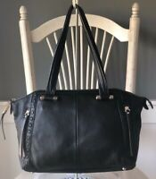 B. MAKOWSKY Black Soft Pebbled Leather Satchel Hobo Shoulder Handbag Purse