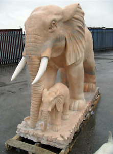 CK Range : Giant Pink Marble Elephant and Calf Garden Statue : Ornament