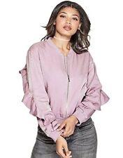 GUESS Women's Biella Ruffle Bomber Jacket, Purple, Size: Large