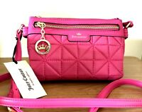 JUICY COUTURE Quilted Crossbody Bag Crown Jewel Flamingo Pink NWT Orig $49