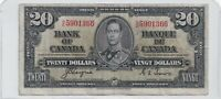 1937 $20 Bank of Canada Note Prefix H/E Coyne Towers - F/VF