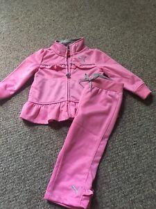 Puma Kids Baby Girl 2- Piece Track Set Suit Pink Zipper Size 12 Months
