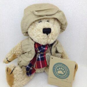 "Boyds Bears Plush Teddy Bear Fishing Vest Hat Plaid Scarf 9"""