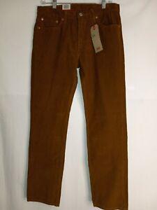 New Levi's 511 Slim Corduroy Golden Brown Khaki Pants Jeans Mens Size 32x30