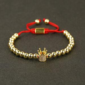 Men Women Luxury Zircon Ball Crown Copper Beads Braided Macrame Couple Bracelets