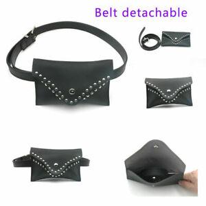 Womens Black Studs Mini Bum Bag Envelope Bum Bag Ladies Belt Bag Pouch
