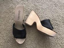 Chanel Platform Wedge Sandals Shoes Heels. Black. Authentic. Size 38 8