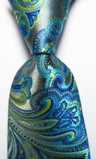 New Classic Paisley Gray Blue Yellow JACQUARD WOVEN Silk Men's Tie Necktie