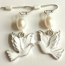 Silver Pearl Dove Earrings Hypoallergenic Bird White Natural Peace Plated