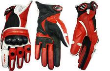 HERO guanti moto rosso estivi HR-111 pelle traforati protezioni Carbonio tg-> XS
