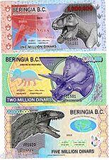 LOT SET SERIE 3 BILLETS BERINGIA B.C. DINARS 2012 Dinosaurs POLYMER UNC NEUF