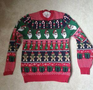 Fun Christmas Xmas Unisex Mens Womans Jumper F&F size M, Mens Medium, Womans 12