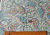 """Lovely Old Vintage Never Used Cotton Floral Paisley Motif Summer Fabric~104""""X30"""""""