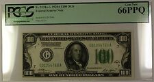 1928A Dark Green Seal $100 Federal Reserve Note Fr. 2151a-G PCGS 66 GEM PPQ G/L
