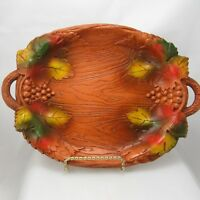 Multi Products USA Faux Carved Wood Serving Tray Grape Vine Vintage Mid Century