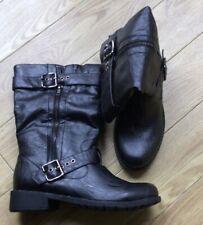 Ladies Biker Boots Black Pu Zip New Size 4 Uk