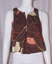 ALICE + UO Urban Outfitters ANTHROPOLOGIE Brown Leaf Print Crop Tank Top Small