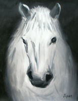 Art Knife OIL painting 100%hand-painted  Animal horse CANVAS Signed 40 x50cm