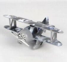 """Toy Gray Camouflage Pre-WWII Military Aircraft Biplane Pull Back Action - 6"""" L"""