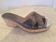 "Jimmy Choo ""Prima"" Snakeskin Cork Wedge Sandal Women's Sz 37. Made In Spain."