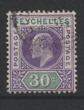 "Seychelles - 1906 wmk. Mca 30c ""abollada Marco"" Fine Used SG.66a (REF.D300)"