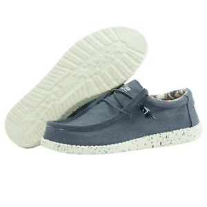 Hey Dude Wally Stretch Blue Men's Shoes Lightweight Slip On Casual Shoes