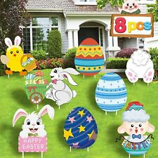 Cloira Easter Decorations Outdoor, 8Pcs Yard Signs with Stakes, Bunny Easter.