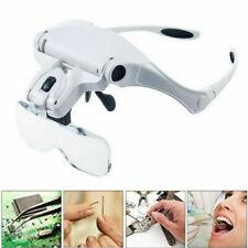 Led Light Head Magnifying Glasses Headset Hands Free Headband Magnifier Lam