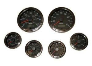 6 Gauge set, Speedo,Tacho (8KRPM),Oil,Temp,Fuel,Volt, black/chrome, 001BC