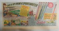 Scripto Pens & Pencils Ad: Sportswriters Tip ! from 1940's Size: 7 x 15 in