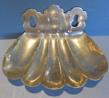AUTHENTIC & OLD DENVER HOTEL ANTIQUE NICKEL PLATED BRASS SHELL SOAP DISH  SD2
