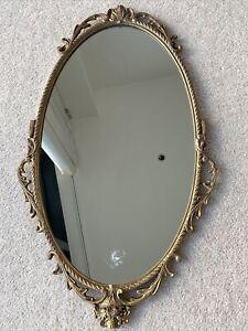 Heavy Gilt Metal Framed Vintage Mirror - Damaged - 66cm Long