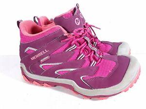 Merrell Youth Waterproof Hiking Boot Shoes Pink Size 3M US, 34 EU Sku S 14