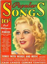 Ginger Rogers cover Popular Songs magazine April 1935 sheet music