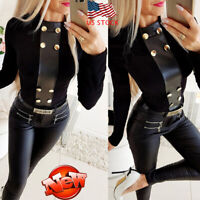 Women Long Sleeve O Neck T-shirt Sexy Slim Fit Casual Tops Buttons Solid Blouse