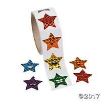Roll of 100 Star Smile Face Holographic Laser Stickers Birthday Party Kids Craft
