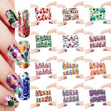 12 Sheets Nail Manicure Tips Water Transfer Decals Sticker Flowers 1593-1604