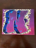 """Graffiti """"N"""" 8 x 10 spray paint and marker Art on Canvas signed original"""