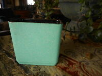 Shawnee Pottery USA 001 Aqua Blue & Brown Small Planter Vase