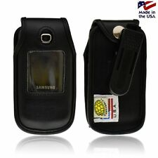 Turtleback Samsung C414 Leather Fitted Black Phone Case with Plastic Belt Clip