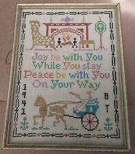 Framed Completed 1941 Cross Stitch Sampler May Joy Be With You While You Stay