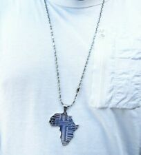 Silver African Map Necklace Pendant Chain Rasta Reggae Africa Afro Map
