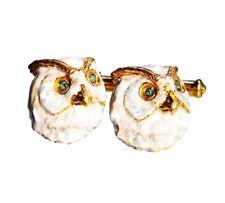 SNOW OWL, SILVER CUFFLINKS, 18K Gold Vermeil, Topaz.  G.DANILOFF&CO.